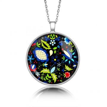 Medalion okrągły kaszuby motyw kwiatowy