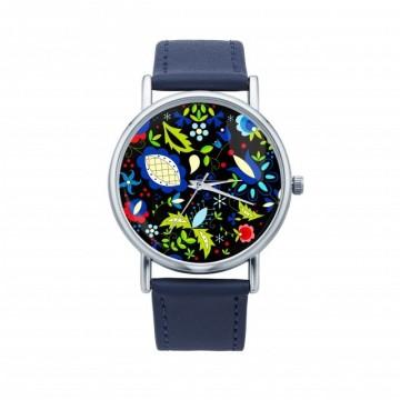 Folk zegarek  motyw kwiatowy kaszuby granat
