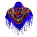 Chusta góralska niebieska wzory kwiatowe