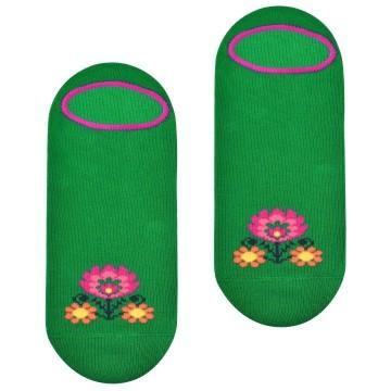 Skarpetki w ludowy motyw kwiatowy zielone
