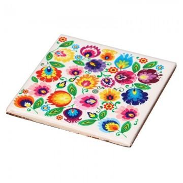 Ceramiczna podstawka pod kubek ludowe wzory kwiatowe łowicz