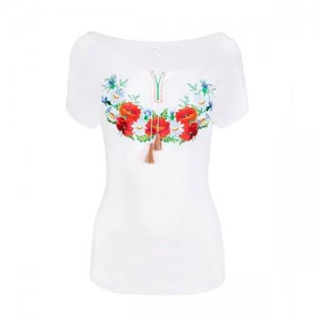 Bluzka z haftem kwiatowym
