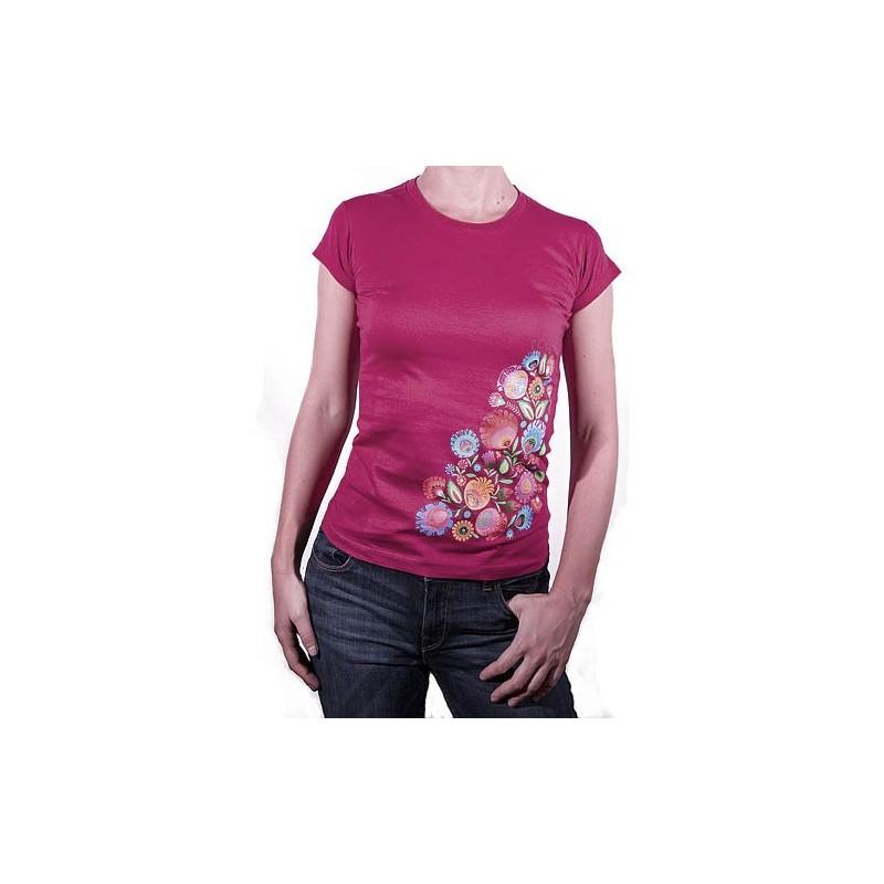 Koszulka kwiaty łowickie wiśnia