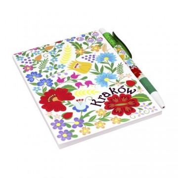 Zestaw notes krakowski kwiaty biały
