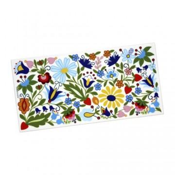 Folkowy ceramiczny dekor z motywem ludowych kaszubskich kwiatów