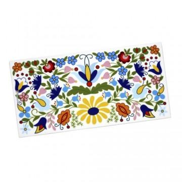 Folkowy dekor z ludowym motywem kaszubskich dużych  kwiatów