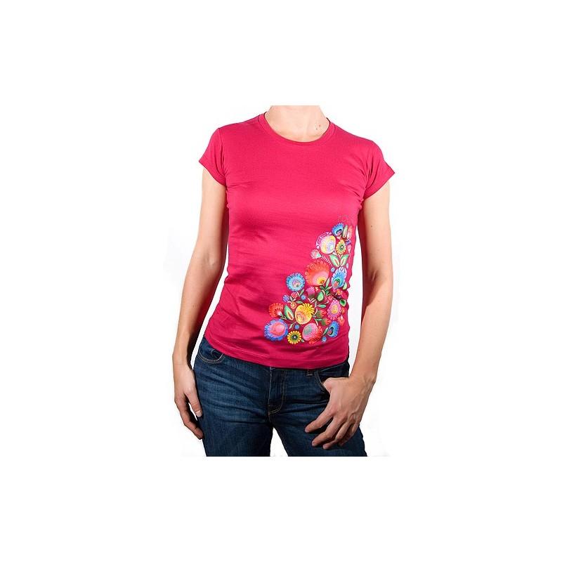 Koszulka kwiaty łowickie malina