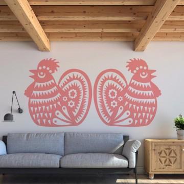 folkowa naklejka na ścianę koguty