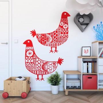 Folkowa naklejka na ścianę ludowe ptaki