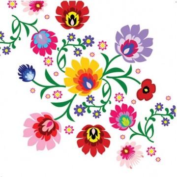 Serwetki folkowe papierowe na stół ludowe kwiaty