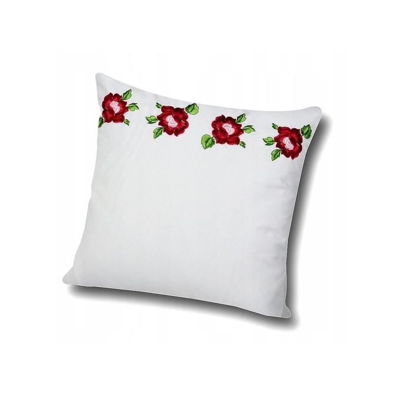 Folklorystyczna poduszka z ludowym haftem róż