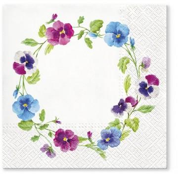 Papierowe trójwarstwowe serwetki z motywem kwiatowym - wianek z fiołków