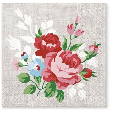 papierowe serwetki na stół i do decoupage z motywem malowanych kwiatów na lnie