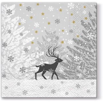 Serwetki świąteczne z jeleniem w lesie na stół