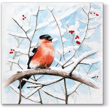 papierowe serwetki  zima sceneria  ptaki gil