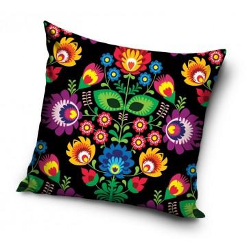 Poduszka z ludowym wzorem kwiatowym czarny folk
