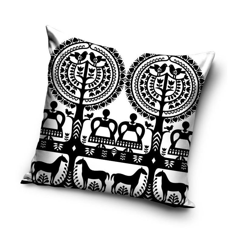 Folklorystyczna poduszka kurpiowskie wycinanki czarnobiała leluja