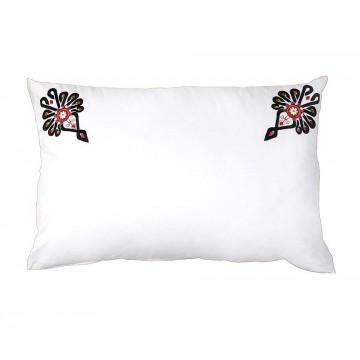 Folklorystyczna poduszka z ludowym haftem parzenicy