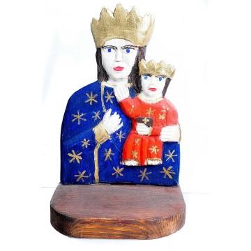 rzeźba ludowa z przedstawieniem Matki Boskiej Częstochowskiej, dzieło ludowego artysty