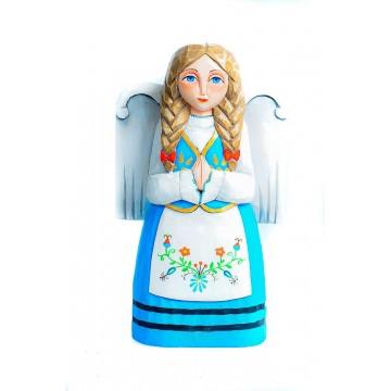 Anioł drewniany kaszubski - ludowa rzeźba Agnieszki trzcinki