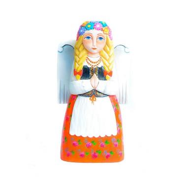 Ludowy drewniany anioł w krakowskim stroju ludowym. Rzeźba ludowa agnieszki trzcinki