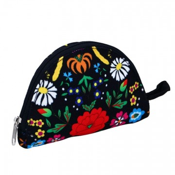 folkowy portfel czarny kociewie kwiaty ludowe