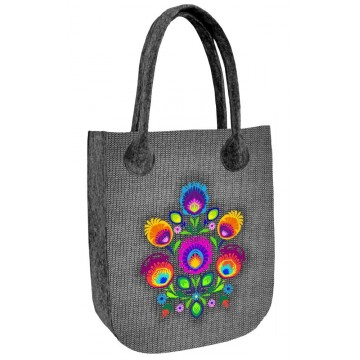 filcowa torba folk jagna motyw ludowy z kwiatami