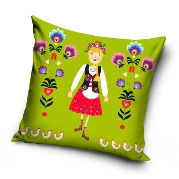 ludowa poduszka z krakowianką. motyw ludowy z kwiatami łowickimi