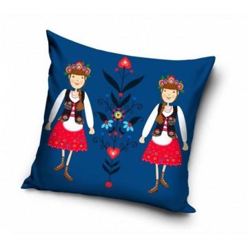 folkowa poduszka z ludowymi wzorami - krakowianki