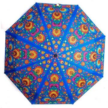 ludowy parasol w łowickie kwiaty niebieski