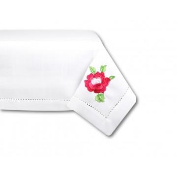 Folkowy obrus z  haftowaną ludową różą