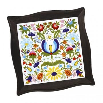ceramiczna  folkowa podstawka pod garnek z kwiatowym wzorem ludowym z kaszub