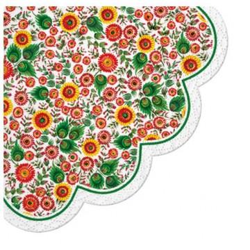 papierowe serwetki z wzorem ludowych kwiatów