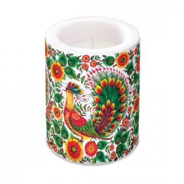 wielkanocna świeca z ludowym motywem kwiatów i pawi