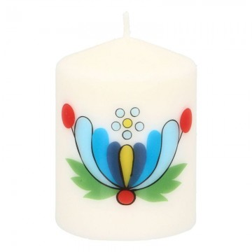 ludowa świeczka z kaszubskimi kwiatami