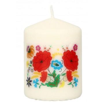 świeczka ludowa z kwiatowym wzorem z kociewia