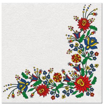 serwetki flizelinowe z ludowym motywem kaszubskim 50 sztuk o wymiarach 40 x 40 cm