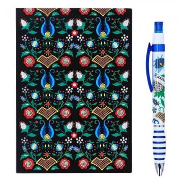 folkowy notes  z długopisem z kwiatami ludowymi kaszuby w czarnym kolorze