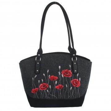 torba filcowa z haftem kwiatowym maki ludowe