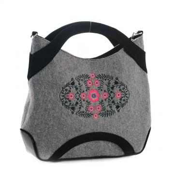 Filcowa torba z ludowym haftem wilanowskim