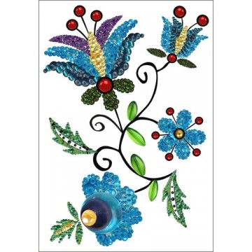 pocztówka - kartka z ludowym wzorem - kaszubskie kwiaty