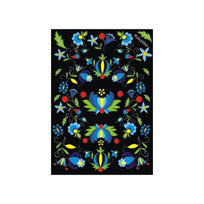 folkowa pocztówka z ludowym wzorem kwiaty kaszubskie czrana