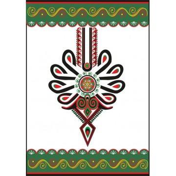 pocztówka - kartka pocztowa z wzorem góralskiej parzenicy