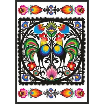 folkowa pocztówka z ludowym wzorem kogutów kurpiowskich