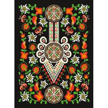 folkowa pocztówka z wzorem ludowym parzenicy w kwiatach