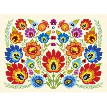 pocztówka z ludowymi kwiatami z łowickich wycinanek, folklor