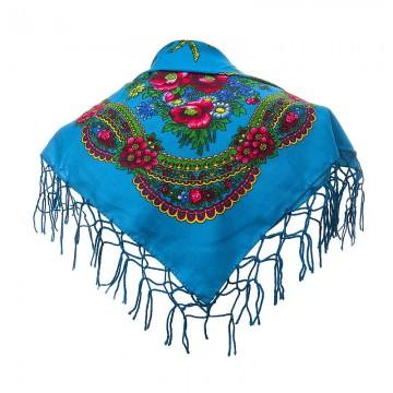 ludowa chusta góralska uszyta z bawełny w niebieskim kolorze do strojów ludowych
