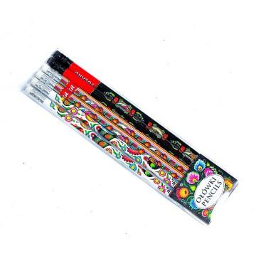 komplet ludowych ołówków z wzorem kogutów