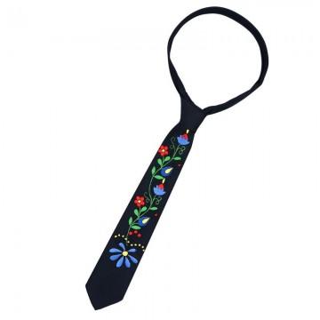 haftowany ręcznie krawat z kaszubskimi kwiatami - ludowy wzór kaszubski