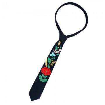 haftowany krawat z ludowym haftem kociewskim